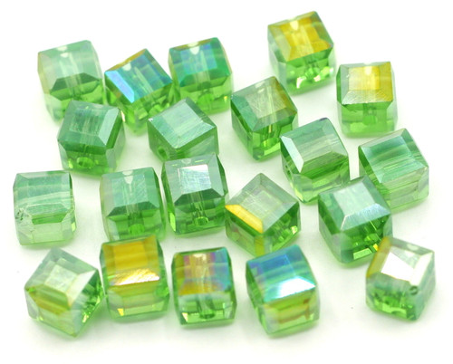20pc Strand 6mm Crystal Cube Beads, Green AB