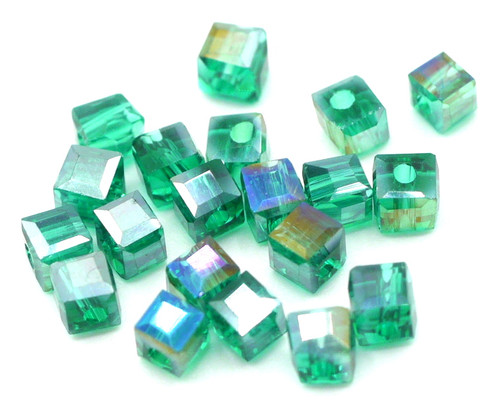 20pc 3mm Crystal Cube Beads, Teal AB