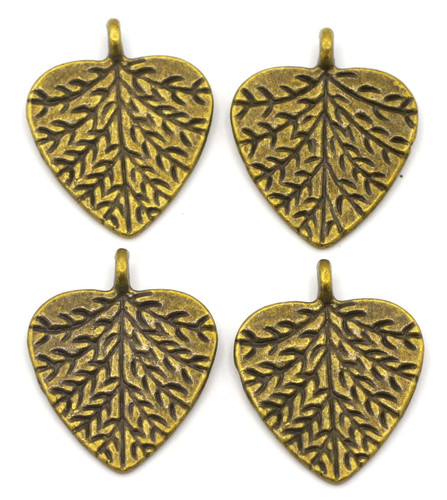 4pc 20x24mm Heart-Shaped Leaf Pendants, Antique Brass Finish