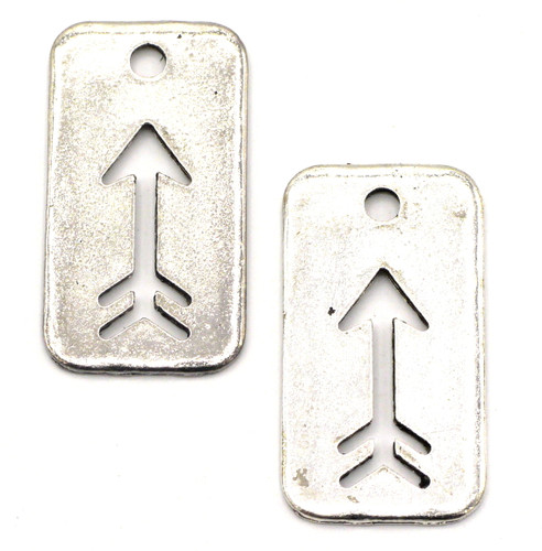 2pc 34mm Arrow Cutout Rectangle Pendants, Antique Silver Finish