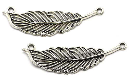 2pc 18x63mm Feather Pendant Link, Antique Silver Finish