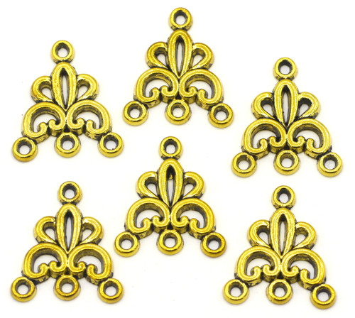 6pc 19x16mm Chandelier Findings, Antique Gold