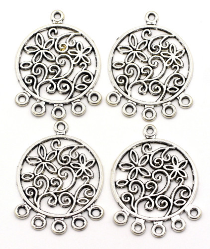 4pc 35x26mm Swirled Chandelier Findings, Antique Silver