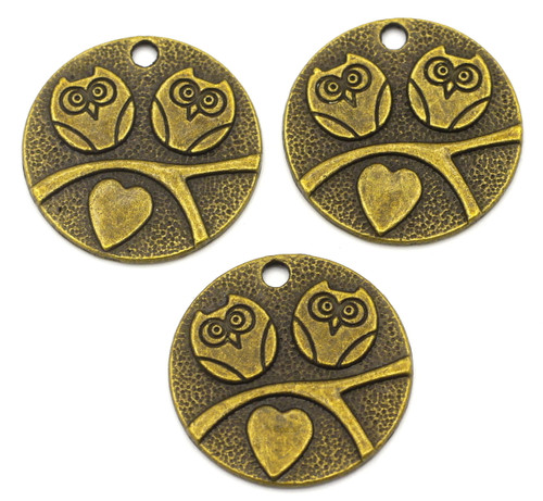3pc 25mm Round Owl Pendants, Antique Brass