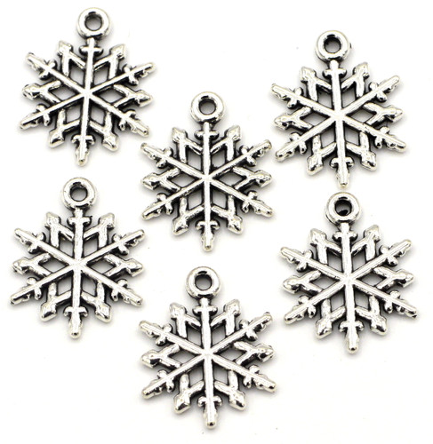 6pc 20x15mm Snowflake Charms, Antique Silver