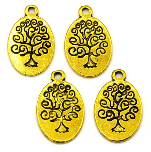 4pc 24mm Oval Tree Charms, Antique Gold