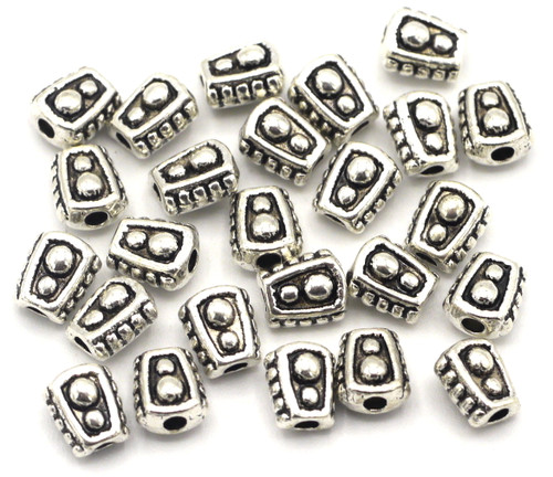 25pc 6mm Bumpy Nugget Spacer Beads, Antique Silver