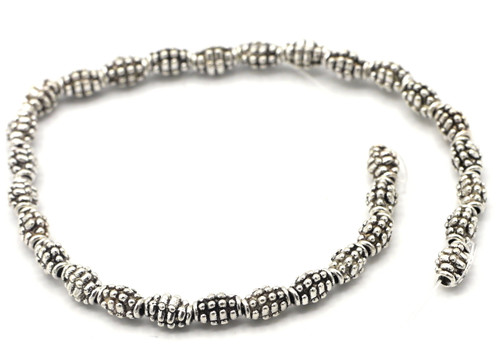 30pc Strand 7x5mm Bumpy Oval Spacer Beads, Antique Silver