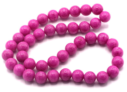 "15"" Strand 10mm Dyed Mountain ""Jade"" Beads, Magenta"