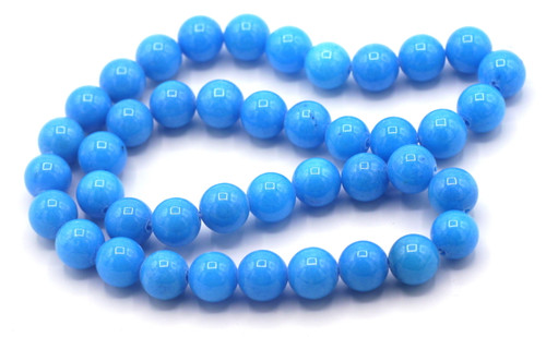 "15"" Strand 10mm Dyed Mountain ""Jade"" Beads, Cerulean"