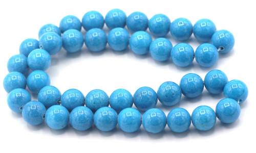 "15"" Strand 10mm Dyed Mountain ""Jade"" Beads, Ocean Blue"