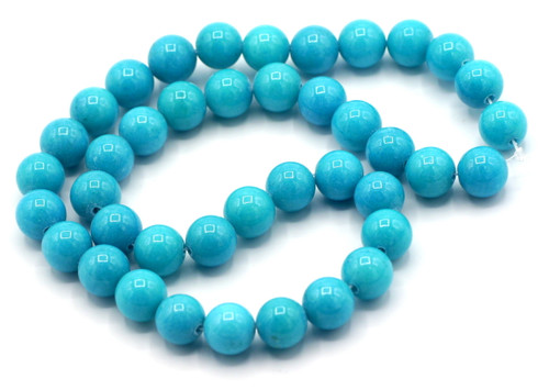 """15"""" Strand 10mm Dyed Mountain """"Jade"""" Beads, Turquoise Blue"""