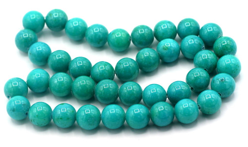 "15"" Strand 10mm Dyed Mountain ""Jade"" Beads, Deep Turquoise"