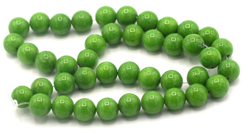 "15"" Strand 10mm Dyed Mountain ""Jade"" Beads, Bright Olive"