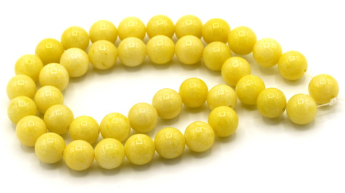 "15"" Strand 10mm Dyed Mountain ""Jade"" Beads, Daffodil"