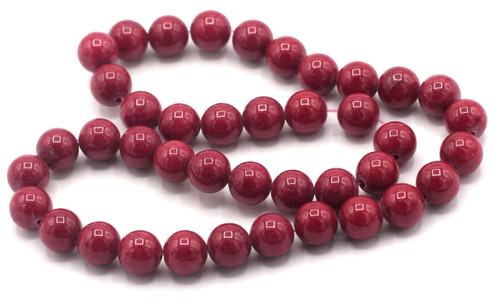 "15"" Strand 10mm Dyed Mountain ""Jade"" Beads, Deep Coral Red"