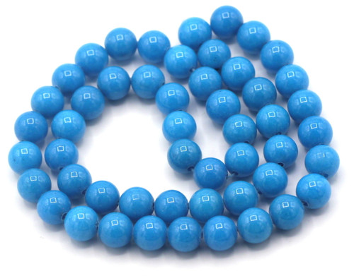 "15"" Strand 8mm Dyed Mountain ""Jade"" Beads, Capri Blue"