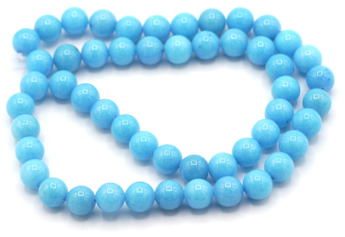 "15"" Strand 8mm Dyed Mountain ""Jade"" Beads, Light Cerulean"