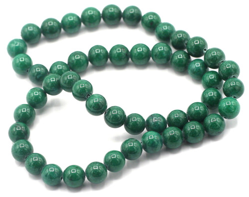 "15"" Strand 8mm Dyed Mountain ""Jade"" Beads, Jungle Green"
