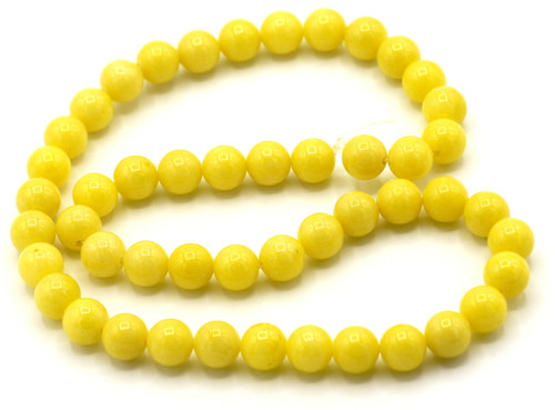 "15"" Strand 8mm Dyed Mountain ""Jade"" Beads, Daffodil"
