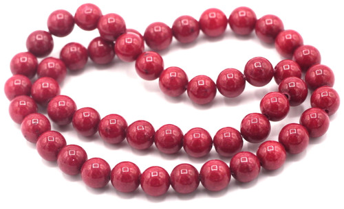 "15"" Strand 8mm Dyed Mountain ""Jade"" Beads, Deep Coral Red"