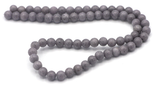 """15"""" Strand 6mm Dyed Mountain """"Jade"""" Beads, Light Charcoal"""