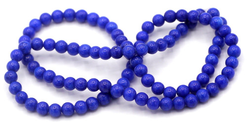 "15"" Strand 4mm Dyed Mountain ""Jade"" Beads, Lapis Blue"