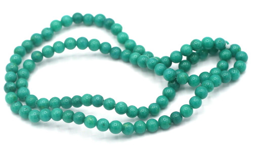"15"" Strand 4mm Dyed Mountain ""Jade"" Beads, Teal Blue"