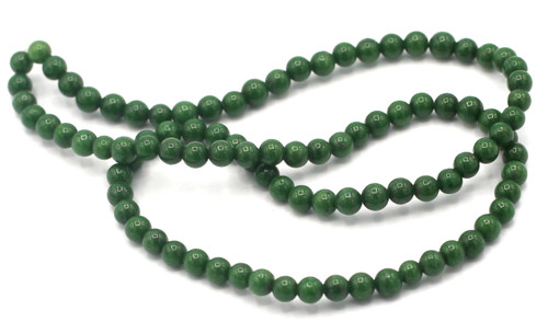 """15"""" Strand 4mm Dyed Mountain """"Jade"""" Beads, Evergreen"""