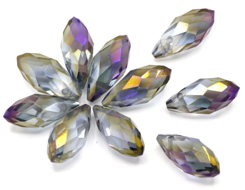10pc 12x6mm Crystal Teardrop Briolette Beads, Peacock