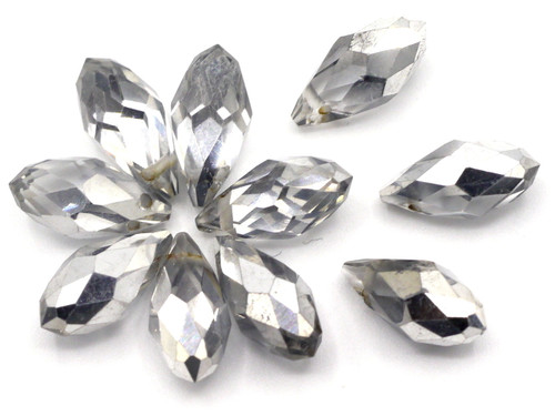 10pc 12x6mm Crystal Teardrop Briolette Beads, Half Silver