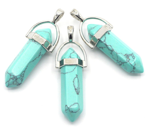 1pc Approx 40mm Turquoise Howlite Point Pendant