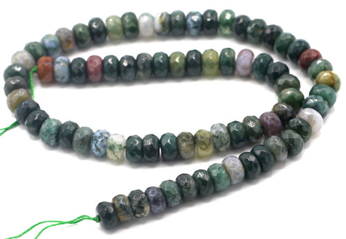 "15"" Strand 8x5mm Indian Agate Faceted Rondelle Beads"