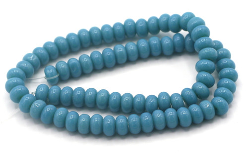 "10.5"" Strand 6x4mm Opaque Glass Rondelle Beads, Denim Blue"