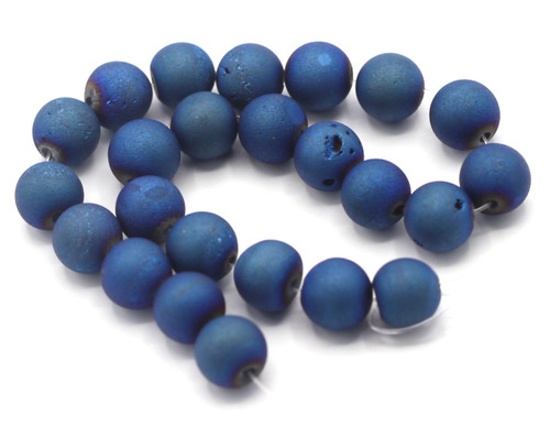 "7.5"" Strand 8mm Electroplated Agate Beads, Deep Blue Iris"