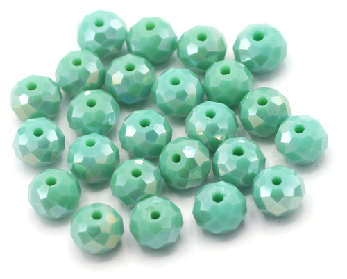 24pc 8x6mm Chinese Crystal Rondelle Beads, Teal Shimmer