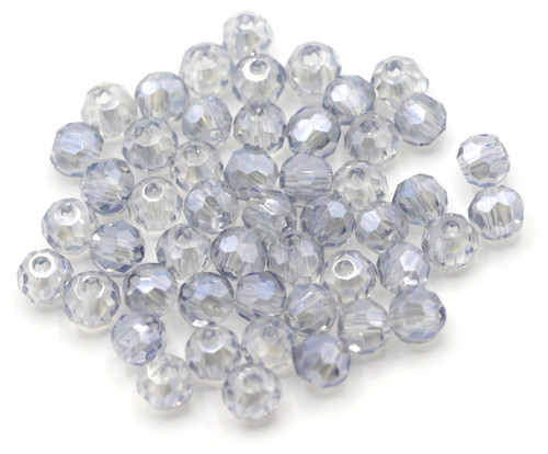 50pc 4mm Chinese Crystal Round Beads, Steel Blue Shimmer
