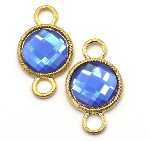 2pc 34x20mm Faceted Glass Links, Steel Blue
