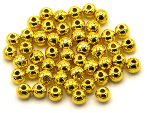 50pc 4mm Round Solid Metal Spacer Beads, Bright Goldtone