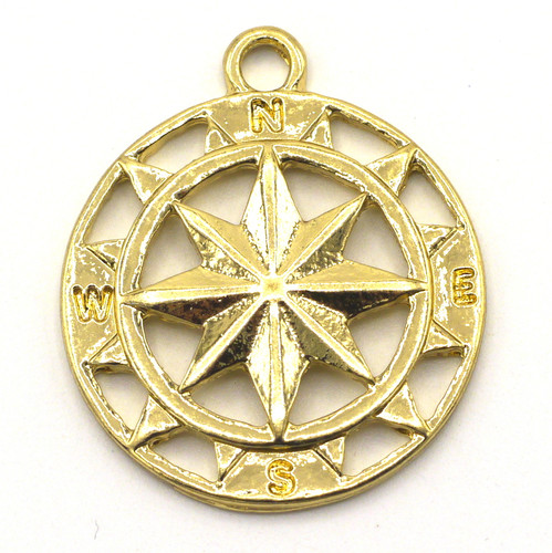 28mm Compass Pendant, Bright Goldtone