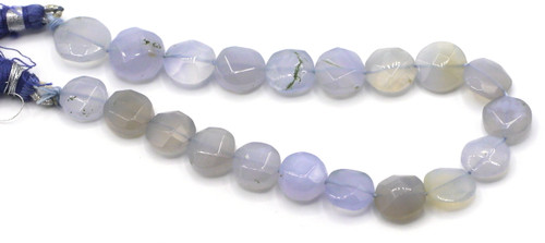 """8"""" Strand Approx 10mm Blue Agate Faceted Coin Beads"""