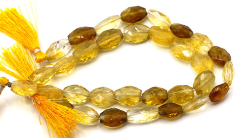 """8"""" Strand Approx 10-15mm Citrine Faceted Oval Beads"""