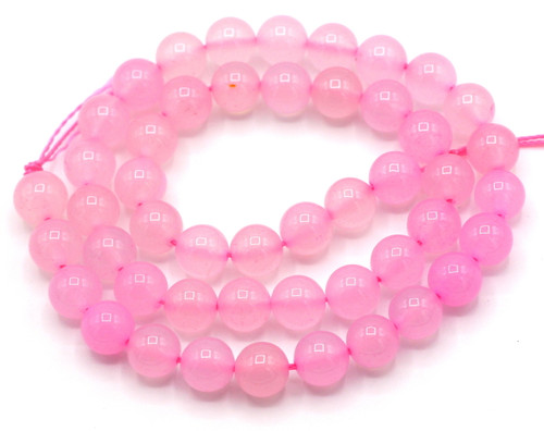 "15"" 8mm Pink Agate Round Beads"