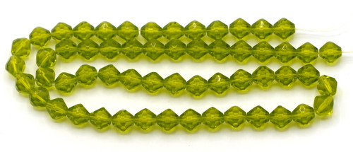"12"" Strand 6mm Glass Faceted Fancy Bicone Beads, Olive"