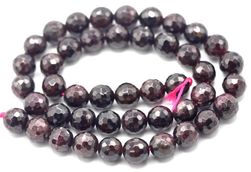 "15"" Strand 8mm Faceted Garnet Round Beads"