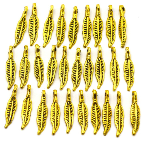 30pc 18.5mm Feather Drops, Antique Gold