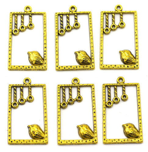 34x19mm Rectangle Drop w/Bird, Antique Gold