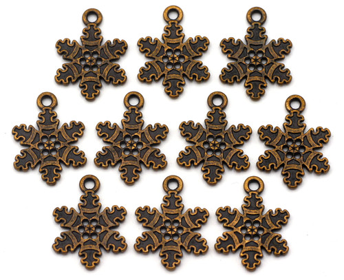 10pc 22x16mm Snowflake Charms, Antique Copper