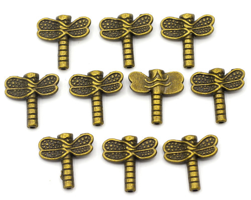 10pc 15.5x16mm Dragonfly Beads, Antique Bronze Finish