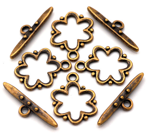4pc 19x24mm Dotted Flower Toggle Clasp, Antique Copper Finish